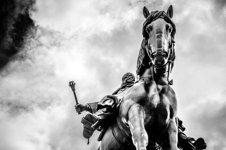 A horseback riding Jan Zizka monument. Prague, Czech Republic. Stock Photo