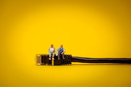 cable red: Relajante equipo de apoyo. Concepto de la tecnología.