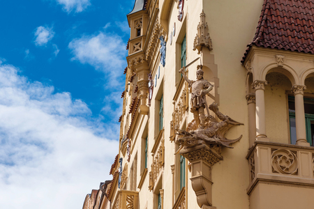 old building facade: Beautiful facade of old building in Jewish Quarter. Czech Republic, Prague. Stock Photo
