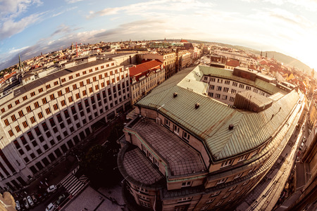 birds eye: Birds eye view of Prague Old Town with red roofs. Czech Republic.
