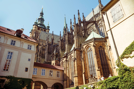 east end: East end of the Saint Vitus Cathedral. Prague, Czech Republic. Stock Photo