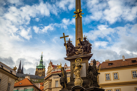 town square: Holy Trinity Column at Lesser Town Square (Malostranske namesti). Prague, Czech Republic. Stock Photo