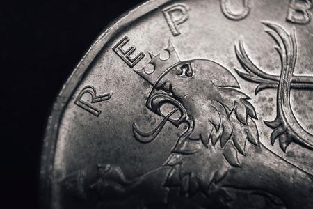 korun: Bohemian heraldic lion on Czech koruna coin. Financial concept. Macro.