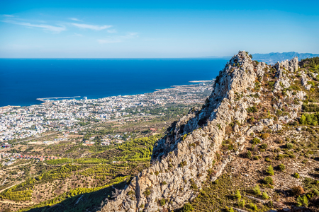 hilarion: View of Kyrenia town from St Hilarion Castle. Kyrenia District, Cyprus.