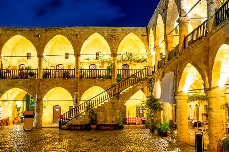Buyuk Han, medieval Ottoman caravansary at night. Nicosia, Cyprus. Stock Photo