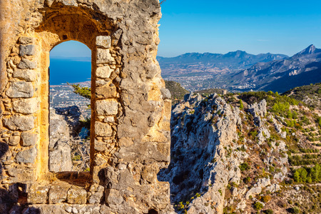 hilarion: View of Kyrenia from St Hilarion Castle. Kyrenia District, Cyprus.