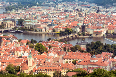 charles bridge: Aerial view of Charles Bridge over Vltava river and Old city. Prague, Czech Republic.
