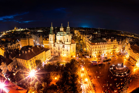 old town square: Overview of Old Town Square and the Church of Our Lady before Tyn. Prague, Czech Republic. Stock Photo