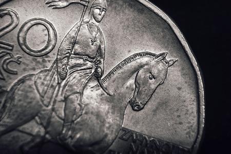 korun: Saint Wenceslas on Czech koruna coin. Financial concept. Macro.