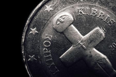 kibris: Cypriot euro coin. Business concept. Macro.