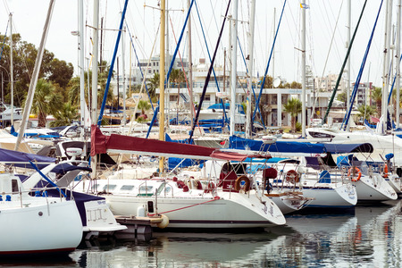 numerous: LARNACA, CYPRUS - MARCH 03, 2016: Numerous fishing and yachts moored in marina.