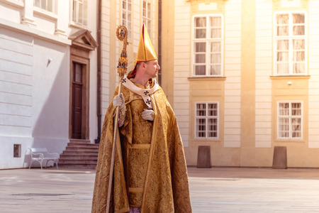 entertainment event: PRAGUE, CZECH REPUBLIC - SEPTEMBER 04, 2016: Re-enactment of the Coronation of Charles IV in Prague Castle.