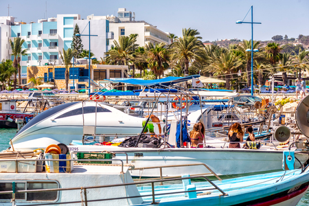 numerous: AYIA NAPA - JULY 16, 2016: Numerous fishing boats and yachts in port of Ayia Napa.