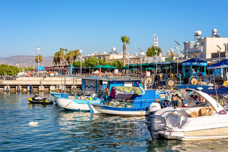 polis: LATCHI, CYPRUS - JULY 24, 2016: View of harbor with the numerous cafes and restaurants. Editorial