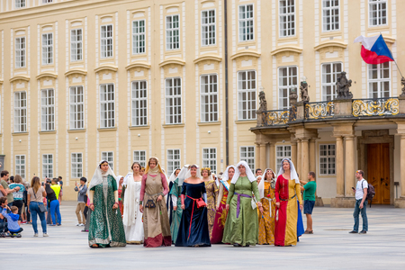 czech women: RAGUE, CZECH REPUBLIC - SEPTEMBER 04, 2016: Noble Women at Celebration of the 700th anniversary of King Charles IVs coronation. Editorial
