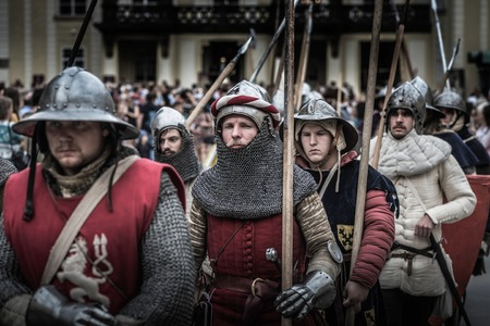 iv: PRAGUE, CZECH REPUBLIC - SEPTEMBER 04, 2016: Armored knights lead the march at Celebration of the 700th anniversary of King Charles IVs coronation. Editorial