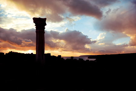 archaeological sites: Silhouette of an ancient Kourion. Limassol District, Cyprus.