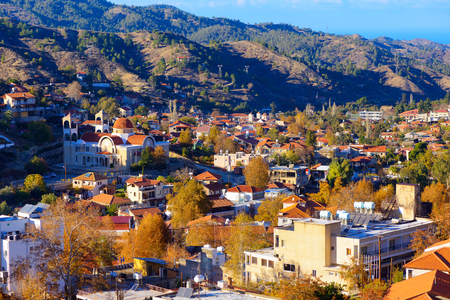 A view over the traditional mountain village of Kakopetria. Nicosia District. Cyprus.
