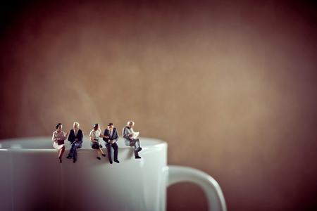 figurine: Business colleagues on coffee break. Stock Photo