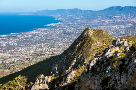 hilarion: View of the north coast from the ruins of St Hilarion Castle. Kyrenia District, Cyprus. Stock Photo