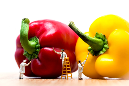 Painters coloring bell pepper. Macro photo.