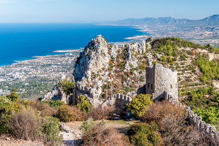 st hilarion: Ruins of St Hilarion Castle. Kyrenia District, Cyprus. Stock Photo