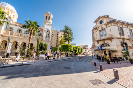 LIMASSOL, CYPRUS - MARCH 18, 2016: Agiou Andreou street, a historic center of Limassol town. Editorial
