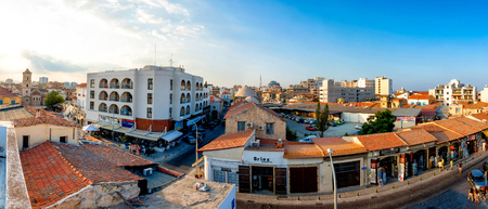 LARNACA, CYPRUS - AUGUST 20, 2014: Souvenir and gift shops in the old town of Larnaca.
