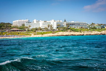 AYIA NAPA, CYPRUS - JULY 16, 2016: Coastal line of Ayia Napa with beach and hotels.