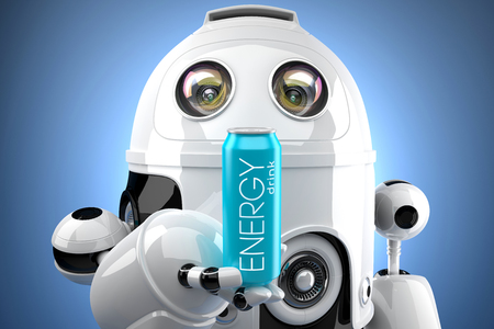 Robot with energy drink can. 3D illustration.