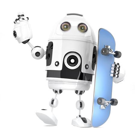 Roboter Skateboarder 3D Abbildung. Isoliert. Enthält Beschneidungspfad