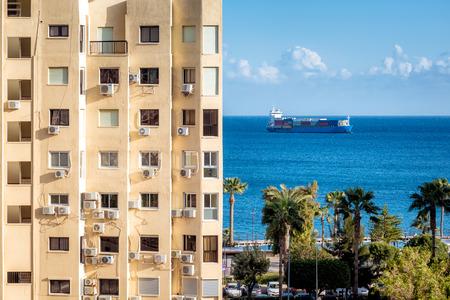 Mediterranean sea viewed trough the Limassol town. Cyprus. Editorial