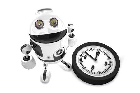 Roboter mit Uhr. 3D Abbildung. Isoliert. Enthält Beschneidungspfad