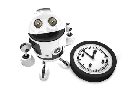 Robot with clock. 3D illustration. Isolated. Contains clipping path