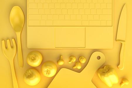Küchentisch mit Kochutensilien und Laptop. 3D Abbildung