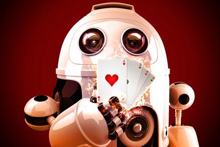 Roboter spielen Poker. 3D Abbildung Lizenzfreie Bilder
