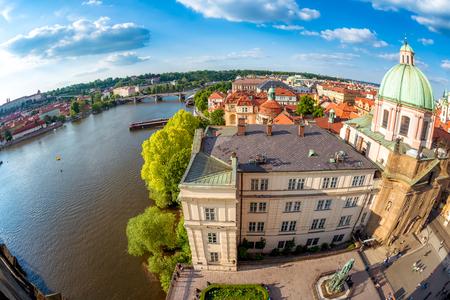 St. Francis of Assisi Church and Vltava river. Prague, Czech Republic. Stock Photo