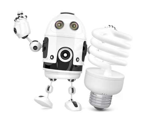 Robot with fluorescent light bulb. 3D illustration. Isolated. Contains clipping path