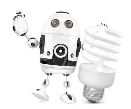 Roboter mit Leuchtstofflampe. 3D Abbildung. Isoliert. Enthält Beschneidungspfad