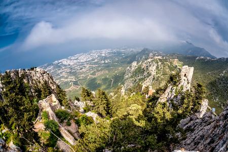 st hilarion: Kyrenia Mountain Range from St Hilarion Castle. Kyrenia (Girne) District, Cyprus. Stock Photo