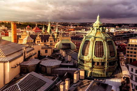 Art Nouveau Stil Kuppel des Municipal House. Prag, Tschechische Republik. Lizenzfreie Bilder