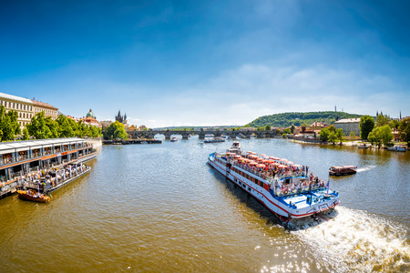 PRAGUE, CZECH REPUBLIC - MAY 27, 2017: Sightseeing tour boat on river Vltava. Editorial