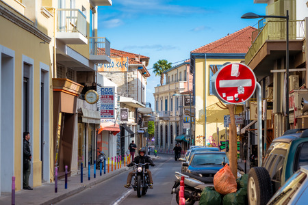 LIMASSOL, CYPRUS - MARCH 03, 2017: Old Town street scene. Editorial