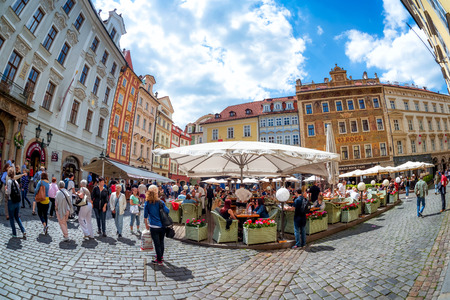 PRAGUE, CZECH REPUBLIC - MAY 21, 2017: Cafes and restaurants at Male Namesti or Little Square in Old Town of Prague. Editorial