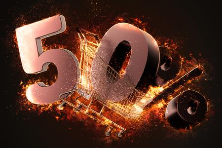 Brennender Warenkorb und rotes fünfzig Prozent Rabattzeichen. 3D-Darstellung.