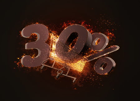 Burning shopping cart and red thirty percentage discount sign. 3D illustration.