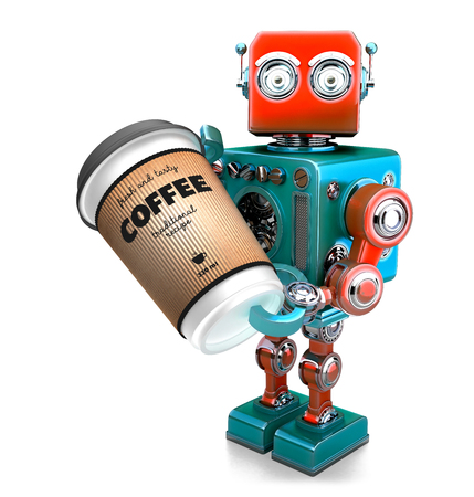 Coffee break. Cup of coffee in hand of retro robot. 3D illustration. Isolated. Contains clipping path.