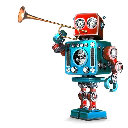 Weinlese-Roboter, der Trompete spielt. 3D-Darstellung. Isoliert. Enthält Beschneidungspfad. Standard-Bild