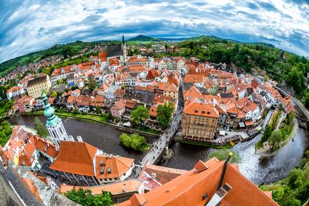 Aerial panorama of Cesky Krumlov. South Bohemia, Czech Republic.