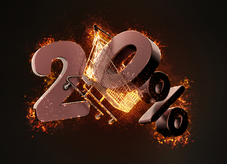 Burning shopping cart and red twenty percentage discount sign. 3D illustration.